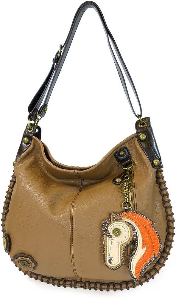 Chala Hobo Crossbody Large Tote Bag HORSE Vegan leather BROWN Convertible