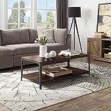 BELLEZE 48' Coffee Table with Storage Shelf Metal Frame for Living Room, Dark Walnut