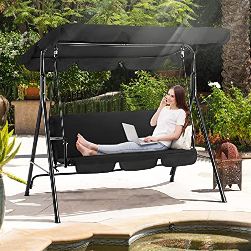 Aoxun Outdoor Patio Porch Swing Chair- with Canopy...