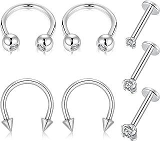 GAGABODY 16G Septum Piercing Nose Rings Cartilage Tragus Earrings Internally Threaded 7pcs