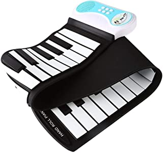 JUMERY-Electronic Soft Keyboard Piano Kid's 49-Key Roll-up Educational Electronic Digital Music Piano Keyboard with Recording Function, 8 Different Sounds, 6 Educational Demo Songs Built-in Speakers