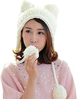 BIBITIME Women's Hat Cat Ear Crochet Braided Knit Caps Warm Snowboarding Winter