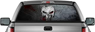 EZ CUT PRO American Punisher Skull Pick-UP Truck Back Window Graphic Decal Perforated Vinyl (55