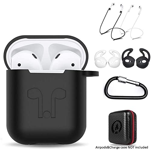 amasing AirPods Case 7 in 1 for Airpods 1&2 Accessories Kits Protective Silicone Cover for Airpod Gen1 2 (Front Led Visible) with 2 Ear Hook /2 Staps/1 Clips Tips Grips/1 Zipper Box Black