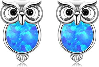 Owl Gifts Silver Owl Earrings Opal Owl Studs for Owl Lovers