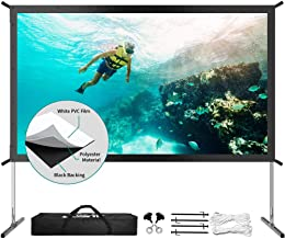 Projector Screen with Stand, Upgraded 3 Layers 120 inch 4K HD 16:9 Outdoor/Indoor Portable Front Projection Screen, Foldab...