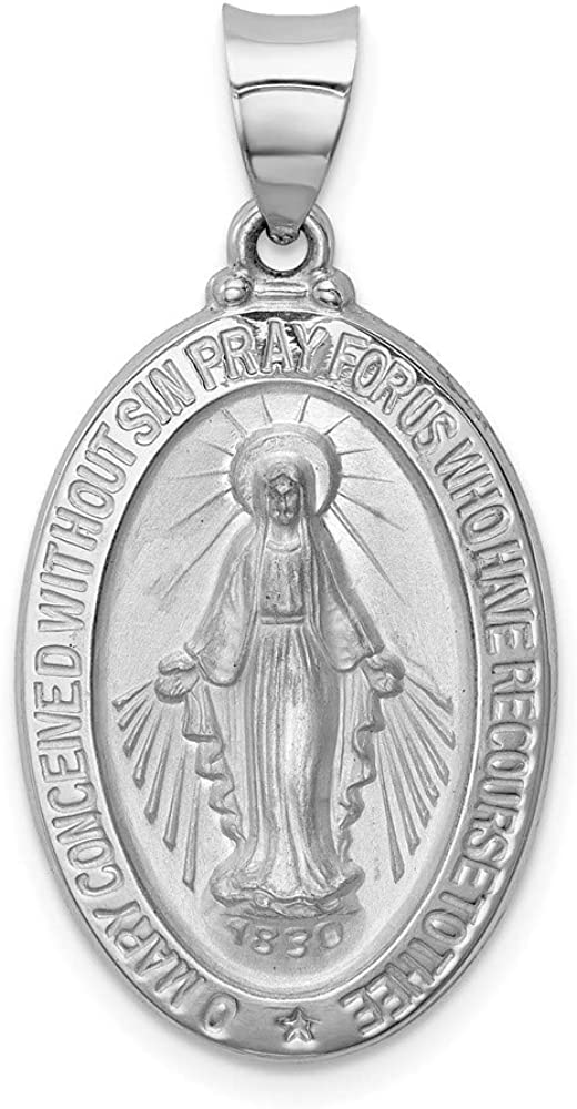 14k White Max 40% OFF Gold Polished Satin Miraculous Hollow Medal Pendant 25 Ranking TOP9