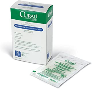 Curad Sterile Oil Emulsion Non-Adherent Gauze Dressing, 3 x 3 inches, for Minor Burns and Abrasions, 50 Count