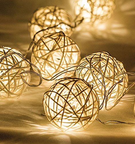 Ex-Pro Wicker Rattan Ball LED Fairy String Lights, Battery Powered, Ambient Warm White LEDs. Bedroom/Living Decorative lighting.