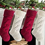 Meriwoods Christmas Stockings, 4 Pack 18 Inches Large Cable Knit Knitted Stockings, Rustic Xmas Farmhouse Decorations for Family Holiday Country Home Decor, Burgundy Red & Cream White