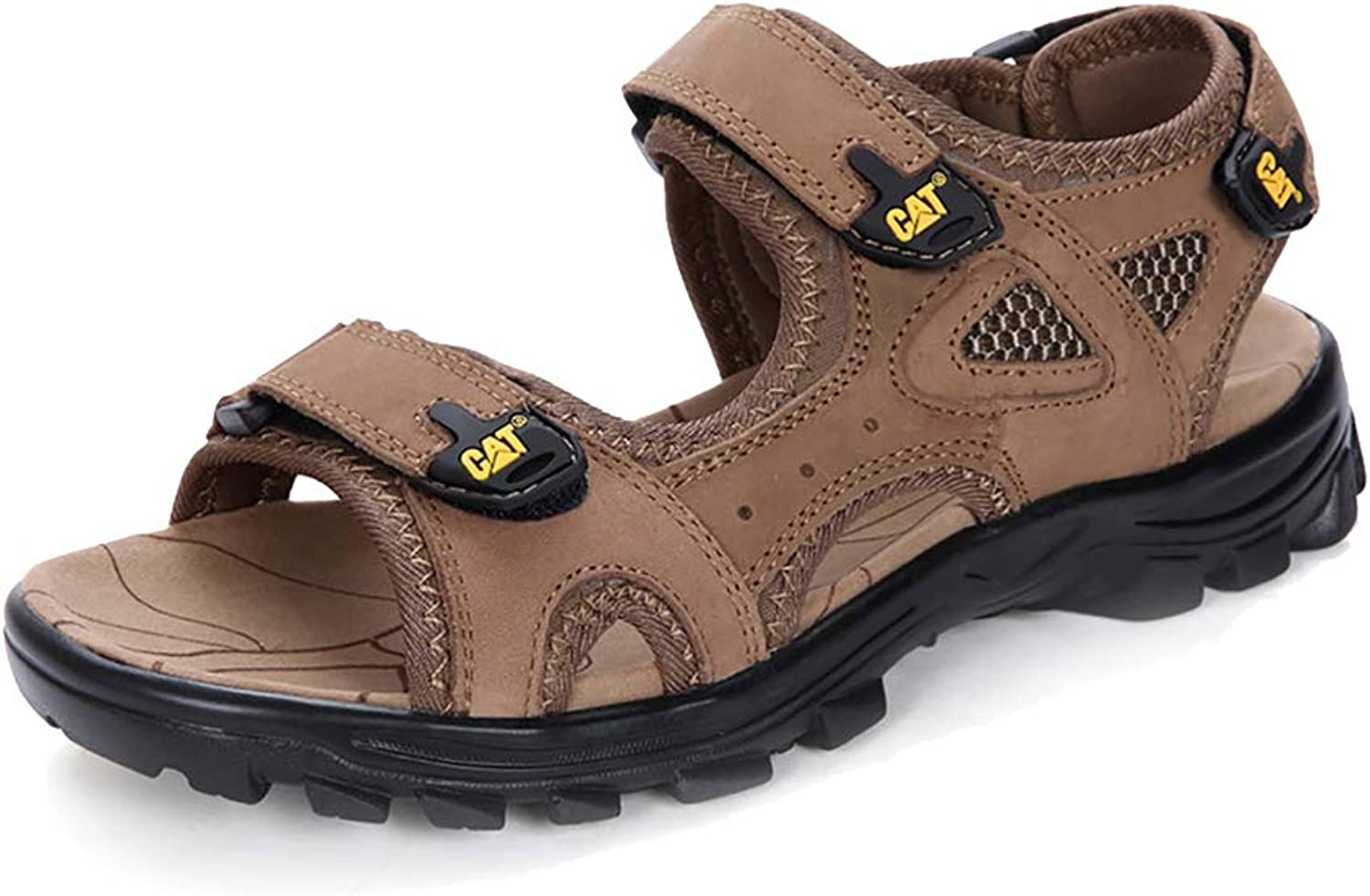 Mzq-yq Summer Large Size Sandals, Men's Leather shoes, Easy To Wear Off The Velcro, Non-slip Insoles Sole