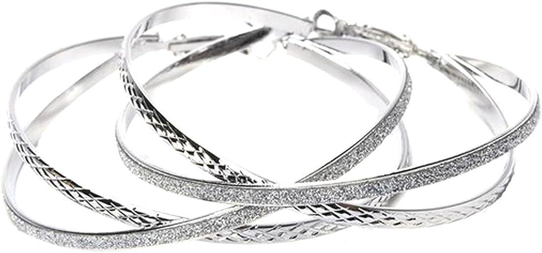 Double Layer Fashion Hoop Earrings For Women Girl|Double Layer Stardust Dangle Earrings Accessory|