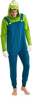 Super Mario Men's Faux Fur Licensed Sleepwear Adult Costume Union Suit Pajama, Luigi, Size Large/X-Large