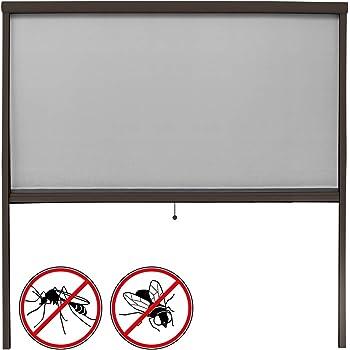 ECD Germany Mosquitera Enrollable para Ventana Marco Marrón Resistente a la Intemperie 160 x 160 cm Tela de Fibra de Vidrio Armazón de Aluminio Malla Protectora Hogar contra Insectos Mosquitos: Amazon.es: Hogar