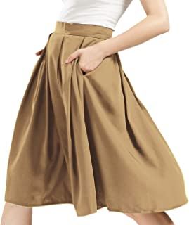 Women's High Waisted A-Line Flare Pleated Midi Skater Skirt with Pockets