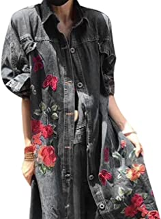 Yesno JQ3 Women Fashion Long Loose Maxi Distressed Denim Trench Jacket Coat Casual Plus Size Lapel Fringed Cut Large Hem