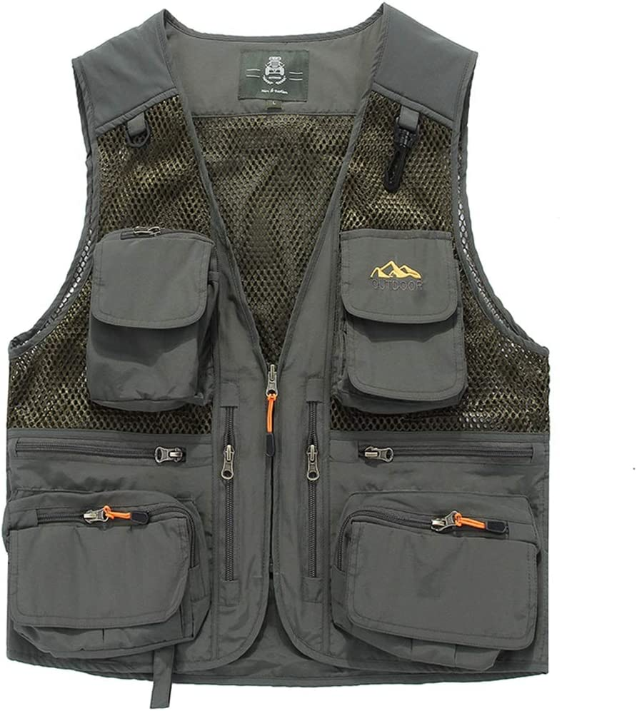 HXR Mens Mesh Summer Casual Outdoor Work Safari Fishing Travel Photo Cargo Vest Multi Pockets Breathable Waistcoat Vests (Color : Gray, Size : 5XL)