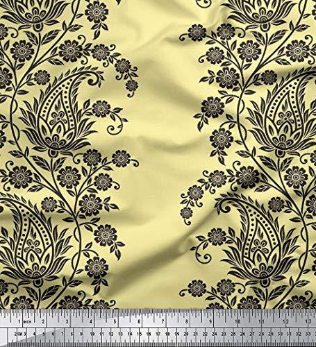 Soimoi Floral Paisley Printed Viscose Rayon 115 GSM Stoff durch das Messgerät 58 Zoll breit - Pale Yellow