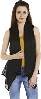 109 F Women Polyester Black Solid Sleevless Shrug