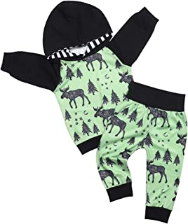 Baby Boys Clothes Long Sleeve Elk Moose and Christmas Tree Print Hoodie and Pants 2Pcs Set (Green, 0-6 Months)