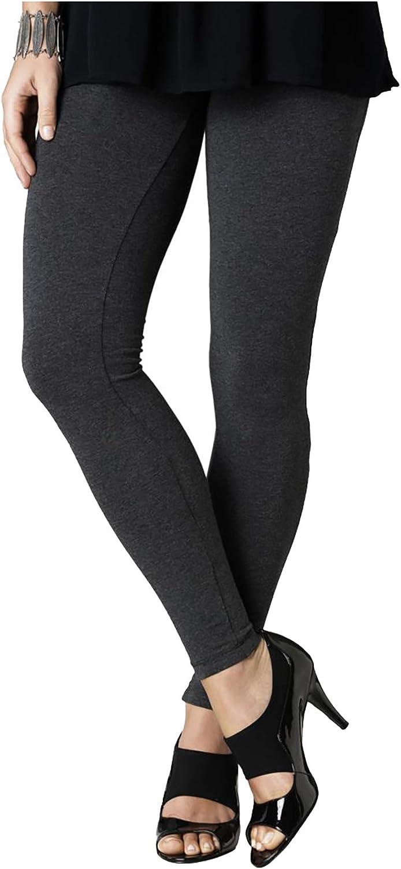 HUE Women's Cotton Legging Graphite Heather Grey Large Size 12