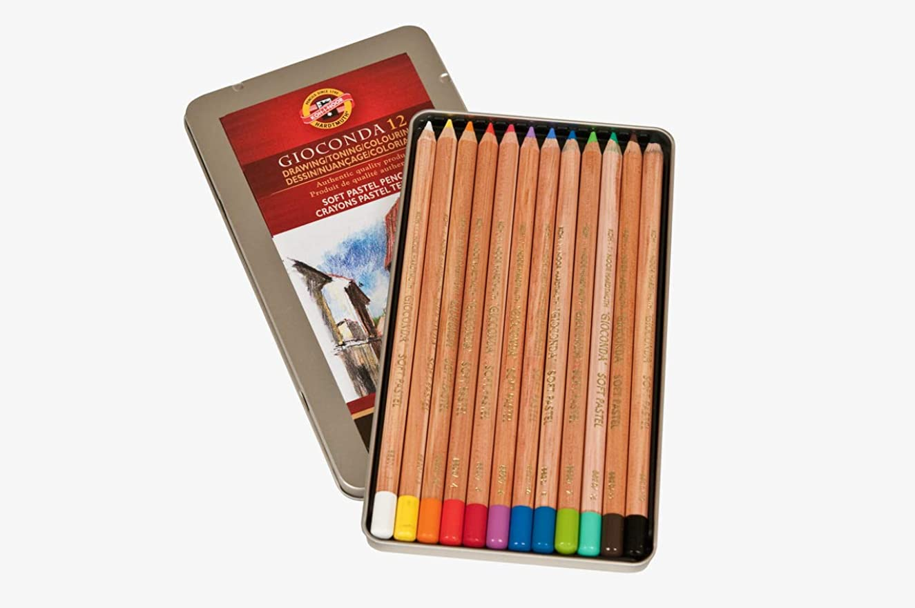 Koh-I-Noor FA8828.12 Gioconda Soft Pastel Pencil Set, 12 Each Packed in Box, Assorted Colors
