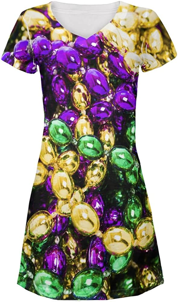 Mardi Gras Beads All Over Beach Large discharge Ranking TOP14 sale Cover-Up Dress Juniors