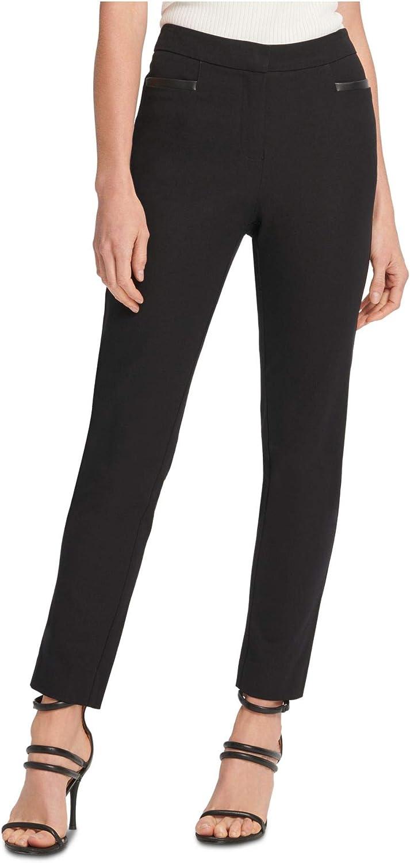 DKNY Womens Faux Leather Trim Straight Dress Pants