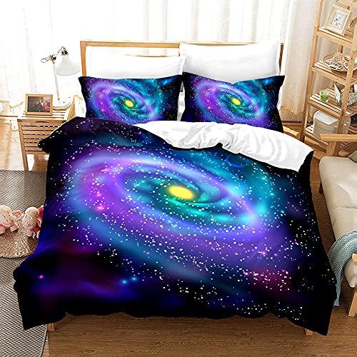 Bedclothes-Blanket Juego de Cama 150,Caso 3D Universo Starry Ropa de Cama de Tres Piezas-Seducir_155 * 220