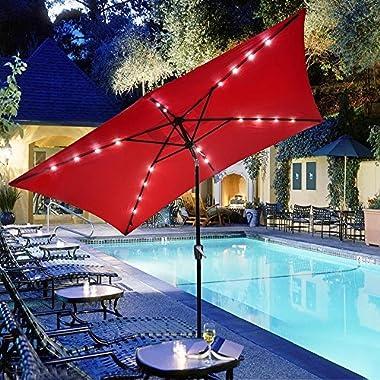 10x6.5ft Rectangle Outdoor Patio Beach Market Aluminium Umbrella Sun Shade Solar Powered Led Light Crank Tilt (Red)
