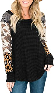 Yskkt Womens Tops Plus Size Casual Leopard Long Sleeve Raglan Tunic Waffle Knit Scoop Neck Patchwork Loose Shirts Black