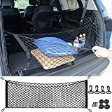Car Rear Cargo Net, Universal Adjustable Elastic Trunk Cargo Storage Organizer Net Compatible for SUV, Jeep, Truck, Storage Nylon Mesh Double-Layer with Hooks (35.4 x 15.7 Inch)