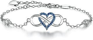 BlingGem Womens Bracelet 925 Sterling Silver 18K White Gold-Plated Blue Gemstone Cubic Zirconia Infinity Heart Charm Bracelet for Mothers Day