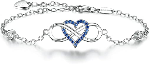BlingGem Women's 18K White Gold-Plated Sterling Silver Color Cubic Zirconia Infinity Heart Bracelet