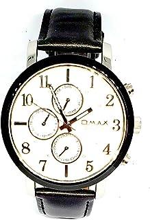 ساعة اوماكس للرجال - رياضية، متعددة الألوان، مينا ابيض - سوار من الجلد - مقاومة للماء - Beeb1227