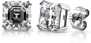 Rhodium Plated Sterling Silver Asscher Cut Cubic Zirconia CZ Solitaire Anniversary Wedding Stud Earrings 7mm 4 CTW