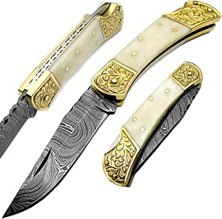 Camel Bone Brass Double Bloster with Scrimshaw Work 7.6'' Handmade Damascus Steel Folding Pocket Knife with Back Lock Prime Quality