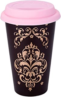 Double Wall Ceramic Coffee Mug Thermal Travel Tea Cup 12 OZ Heatproof Cup with Silicone Lid (Dark Brown)