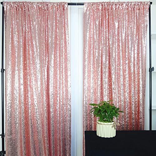 HeMiaor 2 Paneles 2Ft x 7Ft Brillante Photo Booth Telón de Fondo Tela de Lentejuelas de Navidad Cortina de Bodas de Oro Rosa