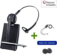 Polycom Compatible Sennheiser D10 Wireless Office Headset with EHS Included | SoundPoint Phones: IP 335, IP 400's, IP 500's, IP 650, IP 670, VVX 201, VVX300's,VVX400, VVX411, VVX500, VVX601, VVX1500