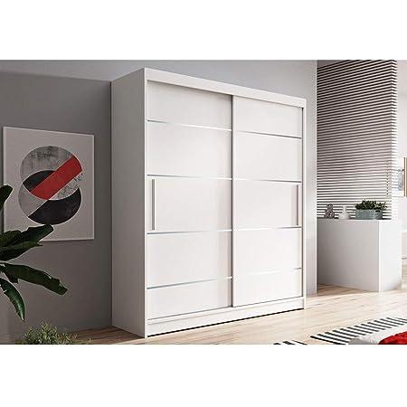 E-MEUBLES Armoire de Chambre avec 2 Portes coulissantes + eléments décoratif en aliminium | Penderie (Tringle) avec étagères (LxHxP): 150x200x61 LARA 06 (Blanc + Blanc)