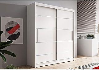E-MEUBLES Armoire de Chambre avec 2 Portes coulissantes + eléments décoratif en aliminium | Penderie (Tringle) avec étagèr...