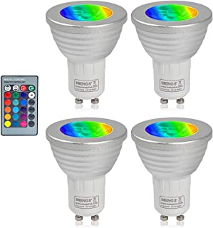 MENGS Pack de 4 Bombilla lámpara LED GU10 3W Equivalente 20W Halógena RGB Lámpara LED, AC 85-265V, 16 cambio de color luces LED + Control Remoto IR Luz LED