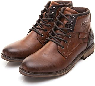 Mens Boots Men's Retro Shoes High-Top Side Zipper Tooling Boots Outdoor Desert Boots Hiking Boots