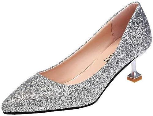 BMYJ Nouvelles Femmes Pompes Classique à Talons Hauts Hauts Paillettes Paillettes Chaussures de Mariage Pointu Chaussures de soirée  Découvrez le moins cher