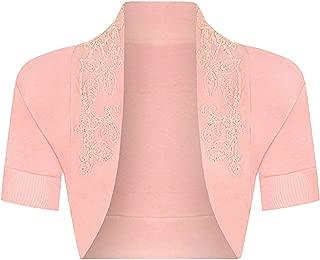 21FASHION Ladies Short Sleeve Beaded Bolero Shrug Womens Sequin Open Front Cardigan Top Small/3X Large