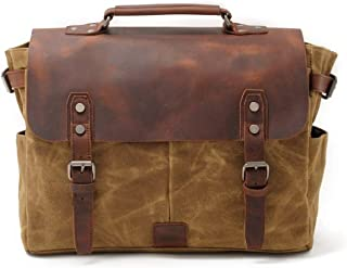 Mens Bag 14 inch Laptop Briefcase Waxed Canvas Genuine Leather Handbag Men Business Vintage Messenger Shoulder Bag High capacity