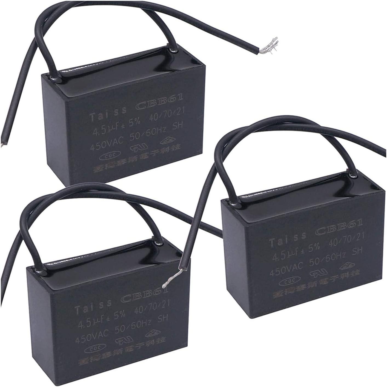 LLMXFC CBB61 4.5uf condensador de ventilador de techo para New Tech 2 Wire 50/60Hz 450VAC (tamaño: 3pcs-4.5uf)