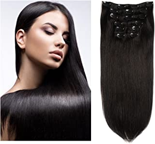 "Friskylov Hair 16"" Virgin Hair Clip in Human Hair Extensions Brazilian Hair Clip on Double Weft 8A Grade100g 7Pieces With 16Clips (16Inch, 1B Natural Black)"