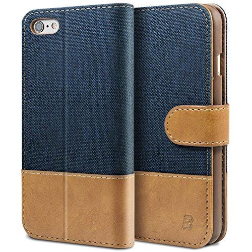 BEZ Hülle für Handyhülle iPhone 6s, iPhone 6S Hülle, Handyhülle Kompatibel für iPhone 6 / 6S, Handytasche Schutzhülle Tasche [Stoff und PU Leder] mit Kreditkartenhaltern - Blau Marine
